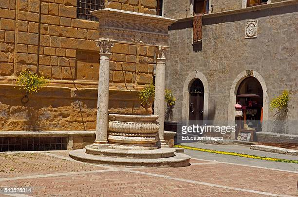 Pienza Pio II square Piazza Pio II Val d'Orcia Orcia Valley UNESCO world heritage site Siena Province Tuscany Italy