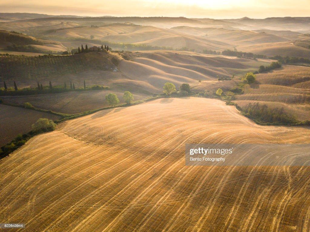 Pienza Toscana Italy from drone : Stock Photo