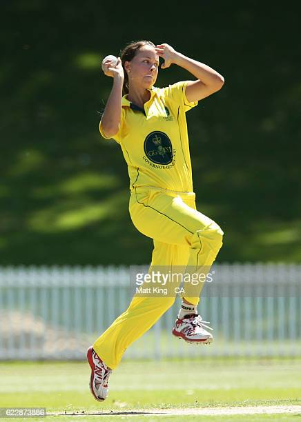 Piepa Cleary of the Governor General's XI bowls during the women's tour match between the Governer General's XI and South Africa at Drummoyne Oval on...