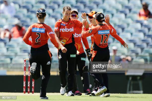 Piepa Cleary of the Scorchers celebrates the wicket of Georgia Redmayne of the Hurricanes during the Women's Big Bash League match between the Perth...