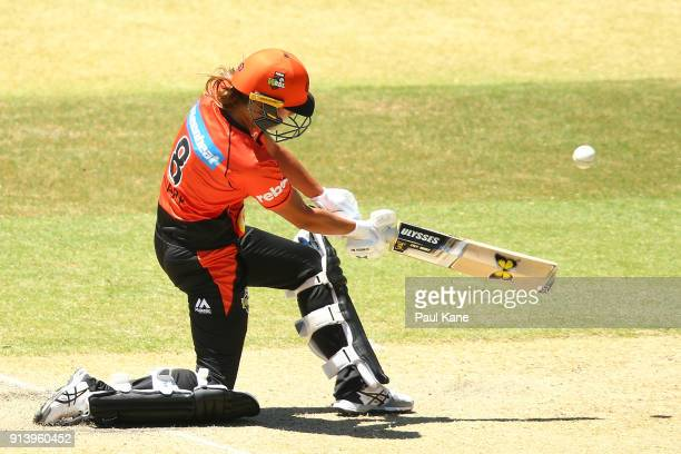 Piepa Cleary of the ScorchersAshleigh Gardner of the Sixers bats during the Women's Big Bash League final match between the Sydney Sixers and the...
