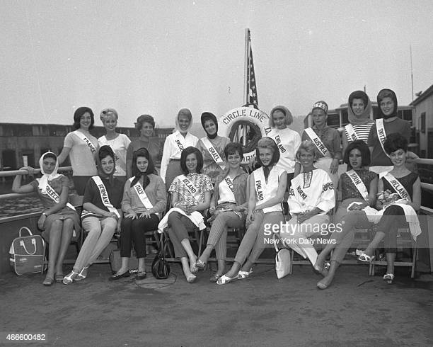Pier 81 foot of west 41th St Miss Universe Contestants sail on Circle Line Boat The Twenty World Wide Contestants for Title of Miss Universe were...