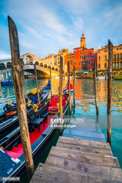 Pier along the Grand Canal. Venice, Italy.