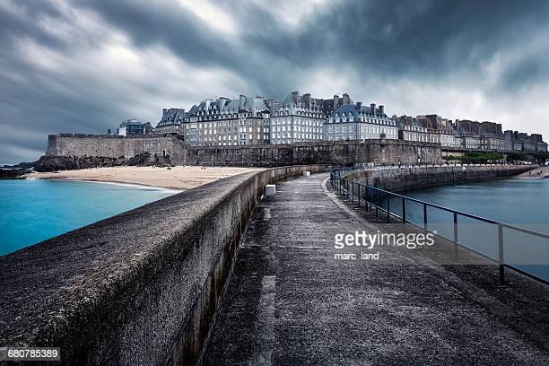 Pier and cityscape, Saint Malo, Brittany, France