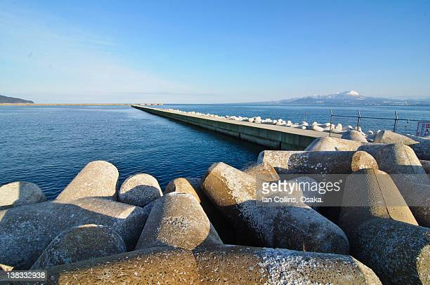 Pier and coatal defenses with Daisen mountain