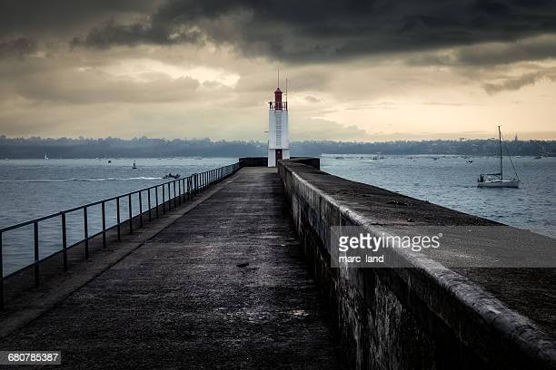 Pier and lighthouse, Saint Malo, Brittany, France