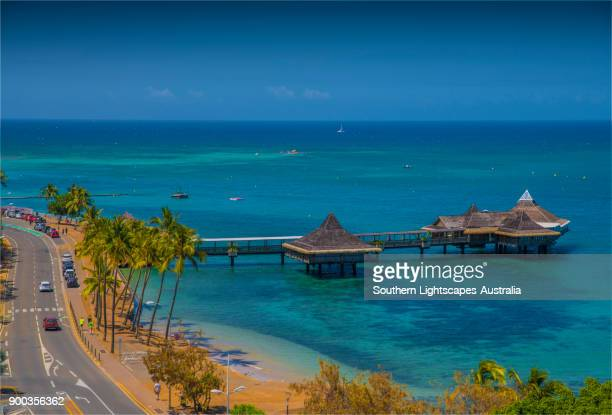 pier and restaurant facilities over the water, noumea harbour, new caledonia, south pacific. - new caledonia stock photos and pictures
