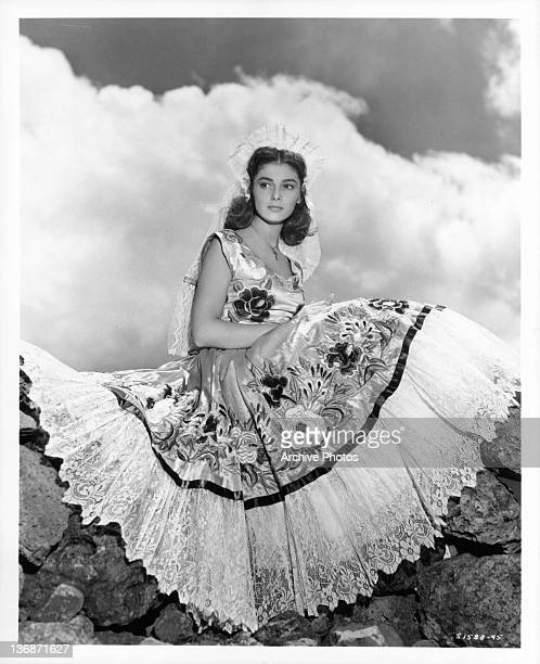 Pier Angeli wearing traditional Mexican dress in publicity portrait in publicity portrait from the film 'Sombrero' 1953