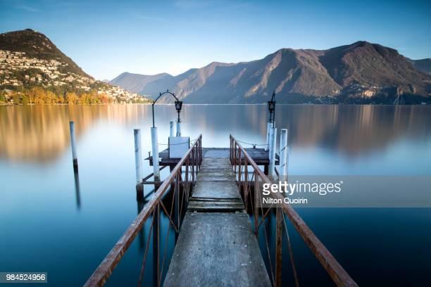 A pier at Lake Lugano, Switzerland.