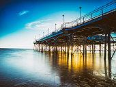 Pier at sunrise, Cleethorpes, Lincolnshire, England, UK