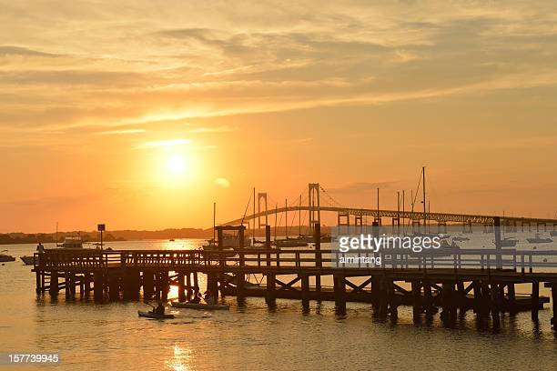 pier at sunset - newport rhode island stock pictures, royalty-free photos & images
