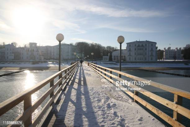 pier at the baltic sea - heiligendamm stock photos and pictures
