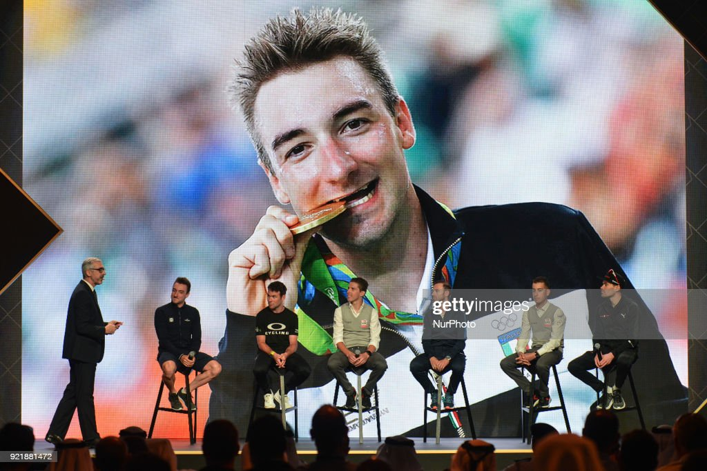 Pier Bergonzi (Left), an Italian journalist and deputy director of La Gazzetta dello Sport, introduces (Left to Right) Elia Viviani, Mark Cavendish, Rui Costa, Alejandro Valverde, Fabio Aru and Tom Dumoulin, during the team presentation and the Opening Ceremony of the Abu Dhabi Tour 2018 at the Viceroy Hotel. On Tuesday, February 20, 2018, in the Viceroy Hotel, Abu Dhabi, United Arab Emirates.