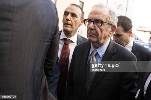 Pier Carlo Padoan Italy's finance minister arrives for an event to mark World Savings Day at the Italian Banking Association in Rome Italy on Tuesday...
