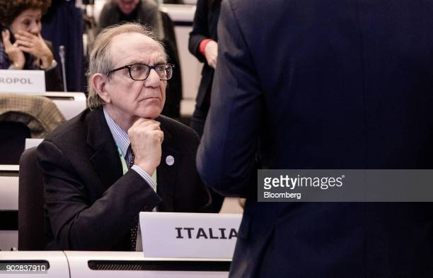 Pier Carlo Padoan Italy's finance minister looks on whilst sat in the audience during the European Commission's financial framework conference in...