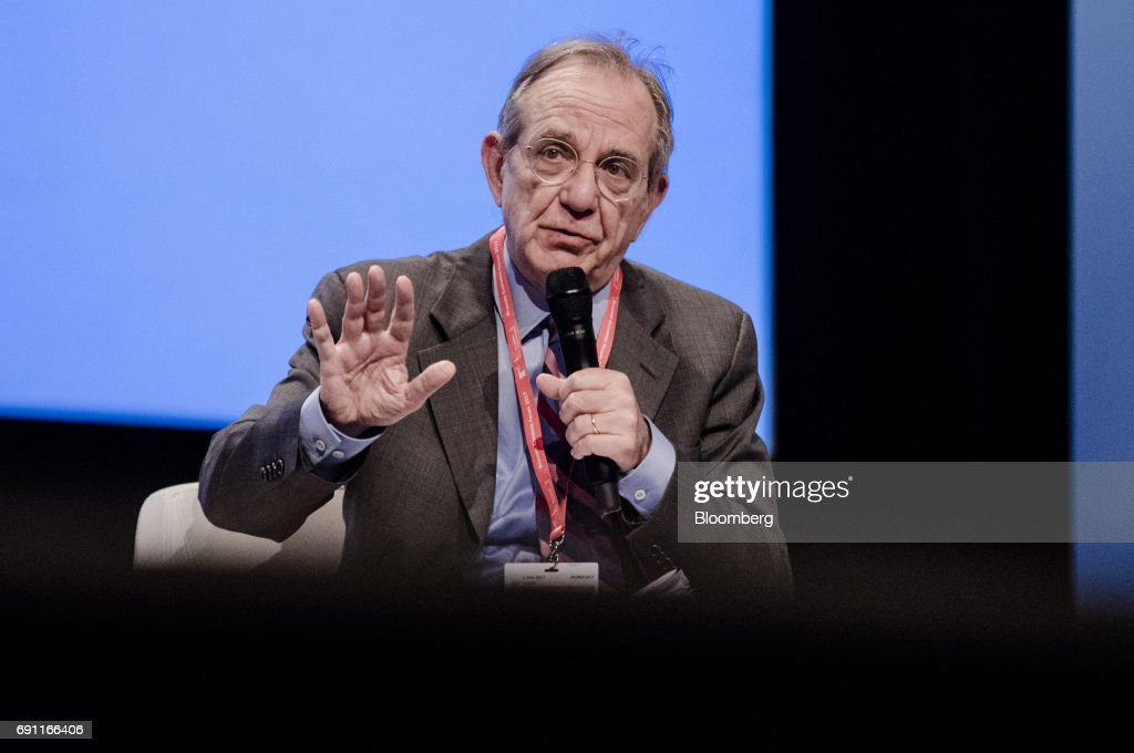 Pier Carlo Padoan, Italy's finance minister, speaks during the Brussels Economic Forum in Brussels, Belgium, on Thursday, June 1, 2017. It may take the U.K. as long as five years to leave the European Union, with the process set to do major harm to both parties, billionaire investor George Soros said, urging the worlds biggest trading bloc to avoid penalizing Britain and instead focus on reforming itself. Photographer: Marlene Awaad/Bloomberg via Getty Images