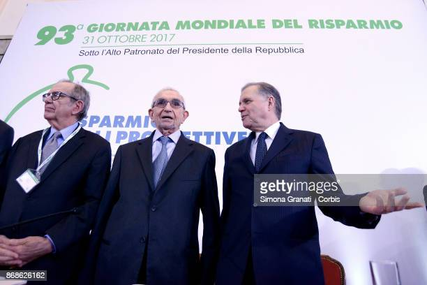 Pier Carlo Padoan President of Acri Giuseppe Guzzetti and Governor of the Bank of Italy Ignazio Visco participate in the 93rd Savings Day on October...