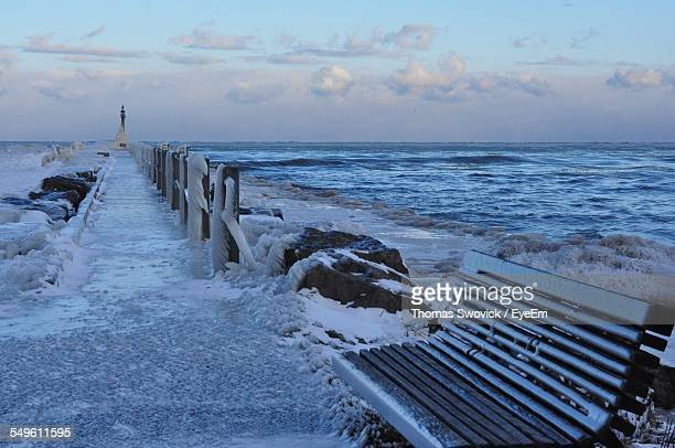 pier covered with ice - the webster stock pictures, royalty-free photos & images