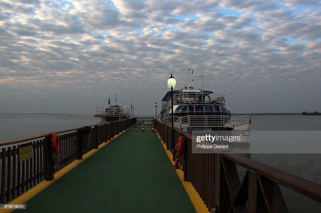 Pier deck on Itaipu Lake, Foz do Iguaçu, Paraná State, Brazil : Stock Photo
