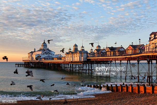 pier in eastbourne, east sussex - pier stock pictures, royalty-free photos & images
