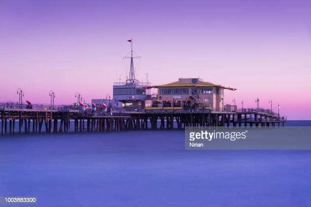 pier in purple - santa monica pier stock pictures, royalty-free photos & images