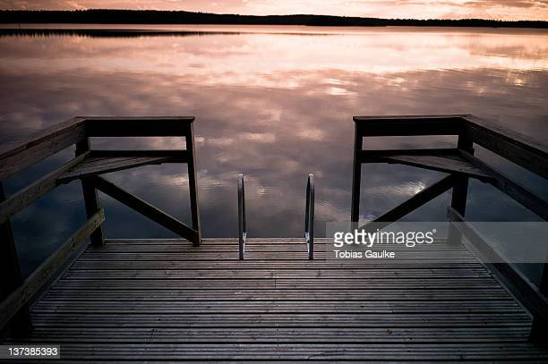 Pier ladder at sunset