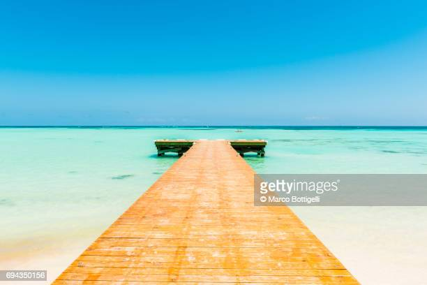 pier leading into the caribbean sea. - eskapismus stock-fotos und bilder