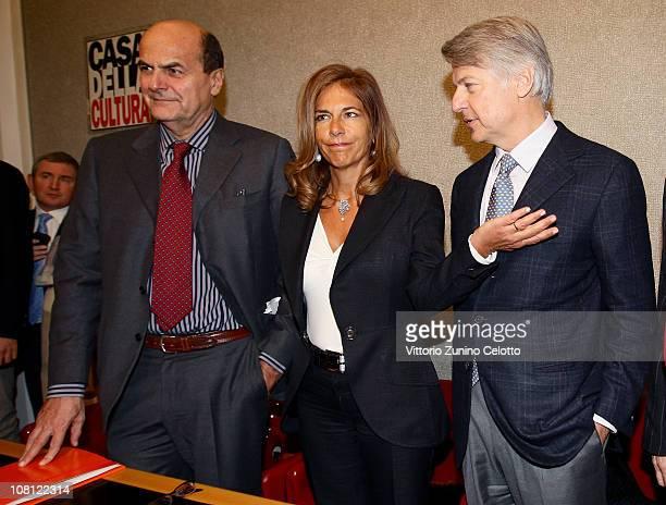 Pier Luigi Bersani Emma Marcegaglia Ferruccio De Bortoli attend 'Il futuro e di tutti ma e uno solo' book presentation held at Casa della cultura on...