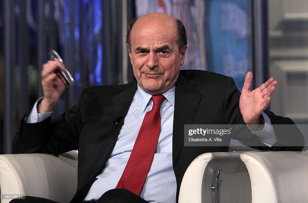 PD Premier Candidate Pier Luigi Bersani Attends 'Porta A Porta' TV Show - February 19, 2013