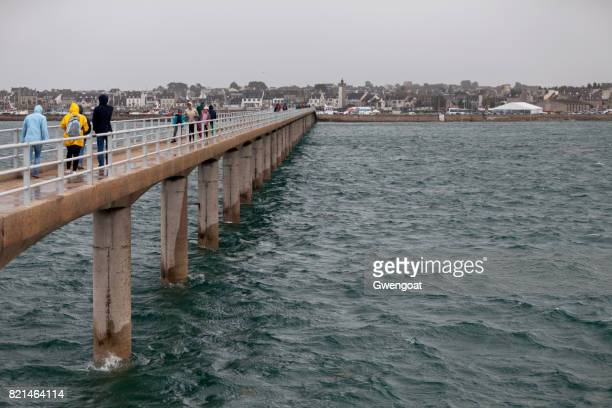 pier of roscoff - finistere stock photos and pictures