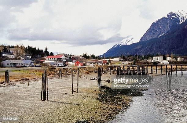 Pier on a river near mountains, Haines, Alaska, USA