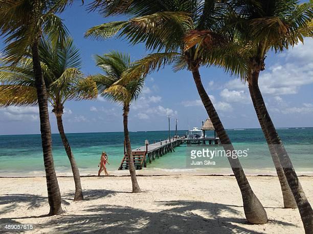 Pier on beach Riviera Maya Quintana Roo Mexico