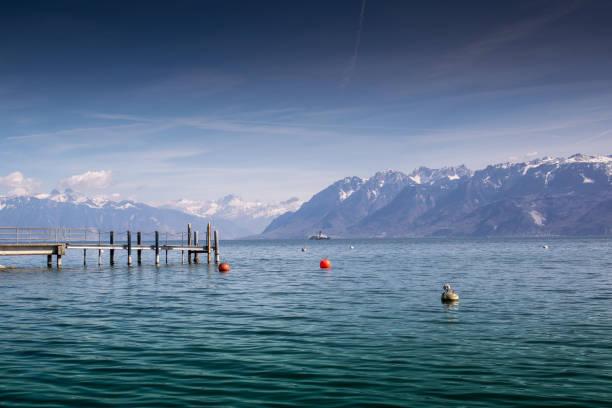 Pier on Lake Geneva, Lake Geneva, Geneva, Switzerland