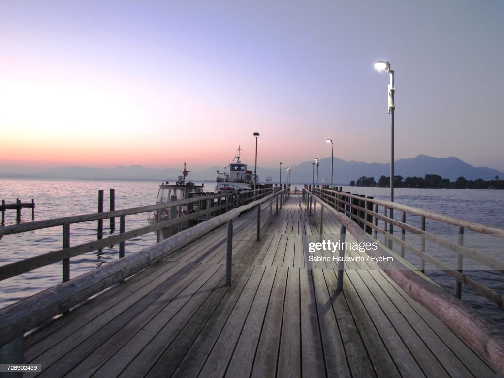 Pier On Sea Against Clear Sky During Sunset : Stock-Foto