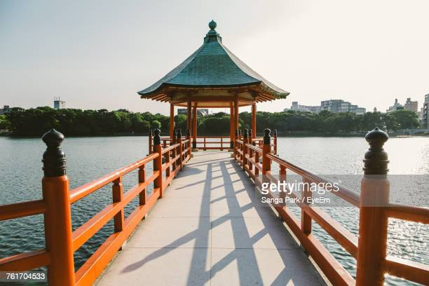 pier on sea against clear sky - fukuoka prefecture stock pictures, royalty-free photos & images