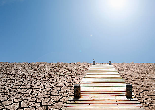 Pier over a dry lake bed