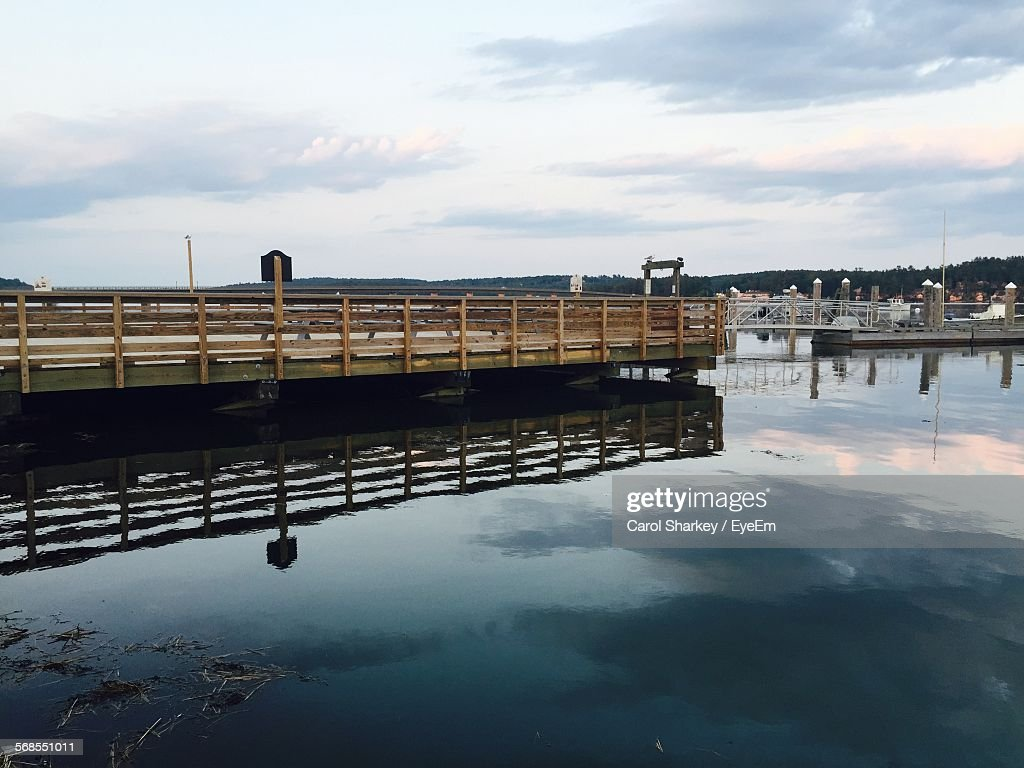 Pier Over Lake Against Sky : Stock Photo