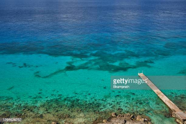 pier over the caribbean sea on cozumel island off the yucatan peninsula of mexico - gulf of mexico stock pictures, royalty-free photos & images