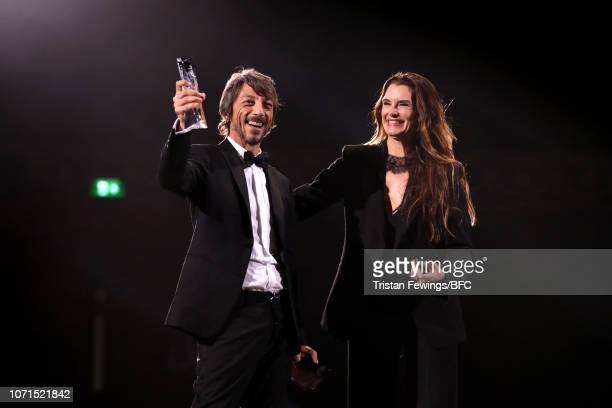 Pier Paolo Piccioli for Valentino winner of Designer of the Year presented by Brooke Shields on stage during The Fashion Awards 2018 In Partnership...