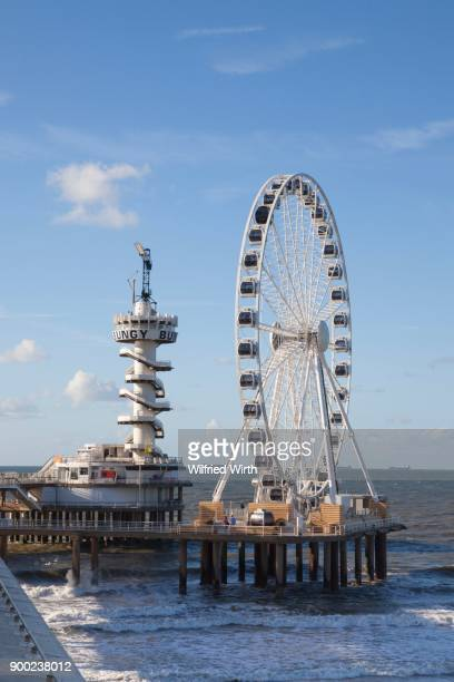 Pier with bungy tower and ferris wheel, Scheveningen, The Hague, Holland, The Netherlands