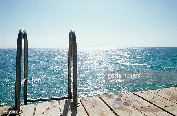 Pier with handrail, close-up