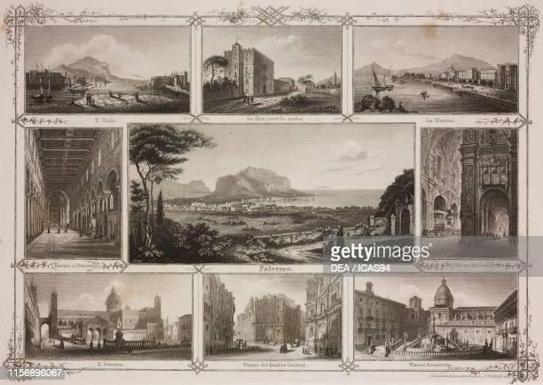 Pier, Zisa Castle, waterfront, Monreale Cathedral, view of the city, Church of the Gesu, Cathedral, Piazza dei Quattro Cantoni , Pretoria Square,...