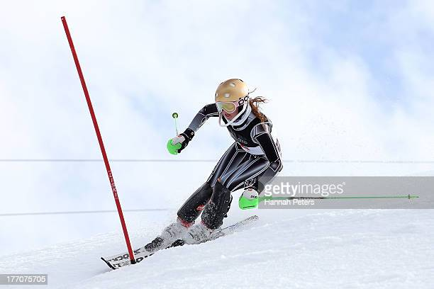 Piera Hudson of New Zealand competes during the Alpine Slalom during day seven of the Winter Games NZ at Coronet Peak on August 21 2013 in Queenstown...