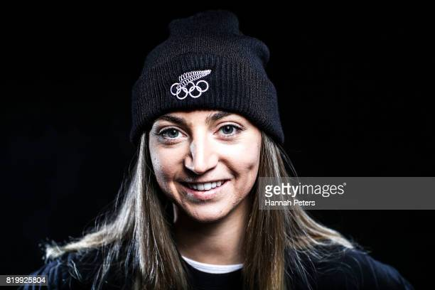 Piera Hudson poses for a portrait during a New Zealand PyeongChang Olympic Winter Games Workshop at Lake Wanaka Centre on July 19 2017 in Wanaka New...