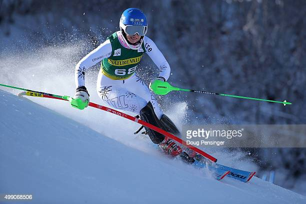 Piera Husdon of New Zealand competes in the first run of the slalom during the Audi FIS Women's Alpine Ski World Cup at the Nature Valley Aspen...