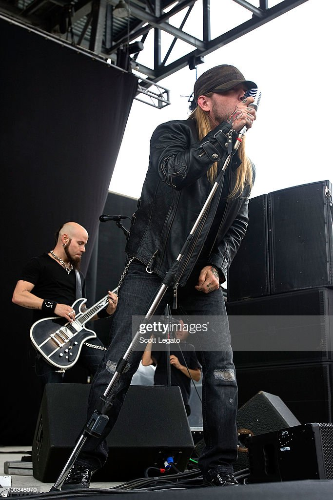 C.J. Pierce and Ryan McCombs of Drowning Pool performs during the 2010 Rock On The Range festival at Crew Stadium on May 22, 2010 in Columbus, Ohio.