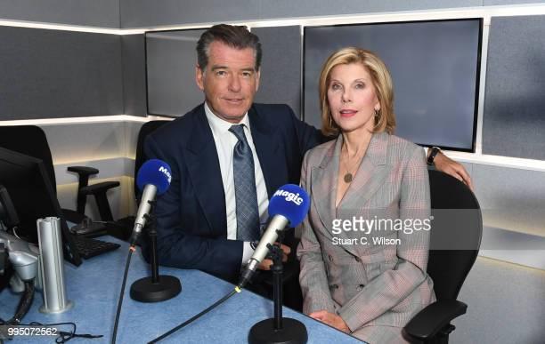 Pierce Brosnan and Christine Baranski visit Magic Radio on July 10 2018 in London England