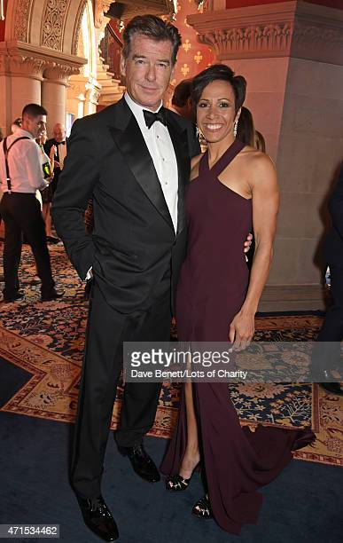 Pierce Brosnan and Dame Kelly Holmes attend the Lotsofcharity.com Remarkable dinner at the St Pancras Renaissance Hotel on April 29, 2015 in London,...
