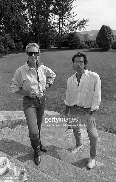 Pierce Brosnan and his family at Tinakilly house, Rathnew, County Wicklow, .