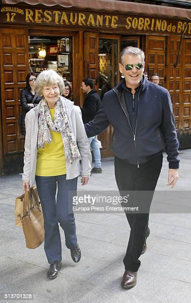 Pierce Brosnan and his mother May Smith are seen leaving 'Casa Botin' According to the Guinness Book of Records this is the oldest restaurant in the...